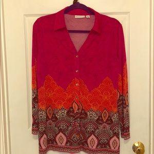 Susan Graver Liquid knit blouse in vibrant colors